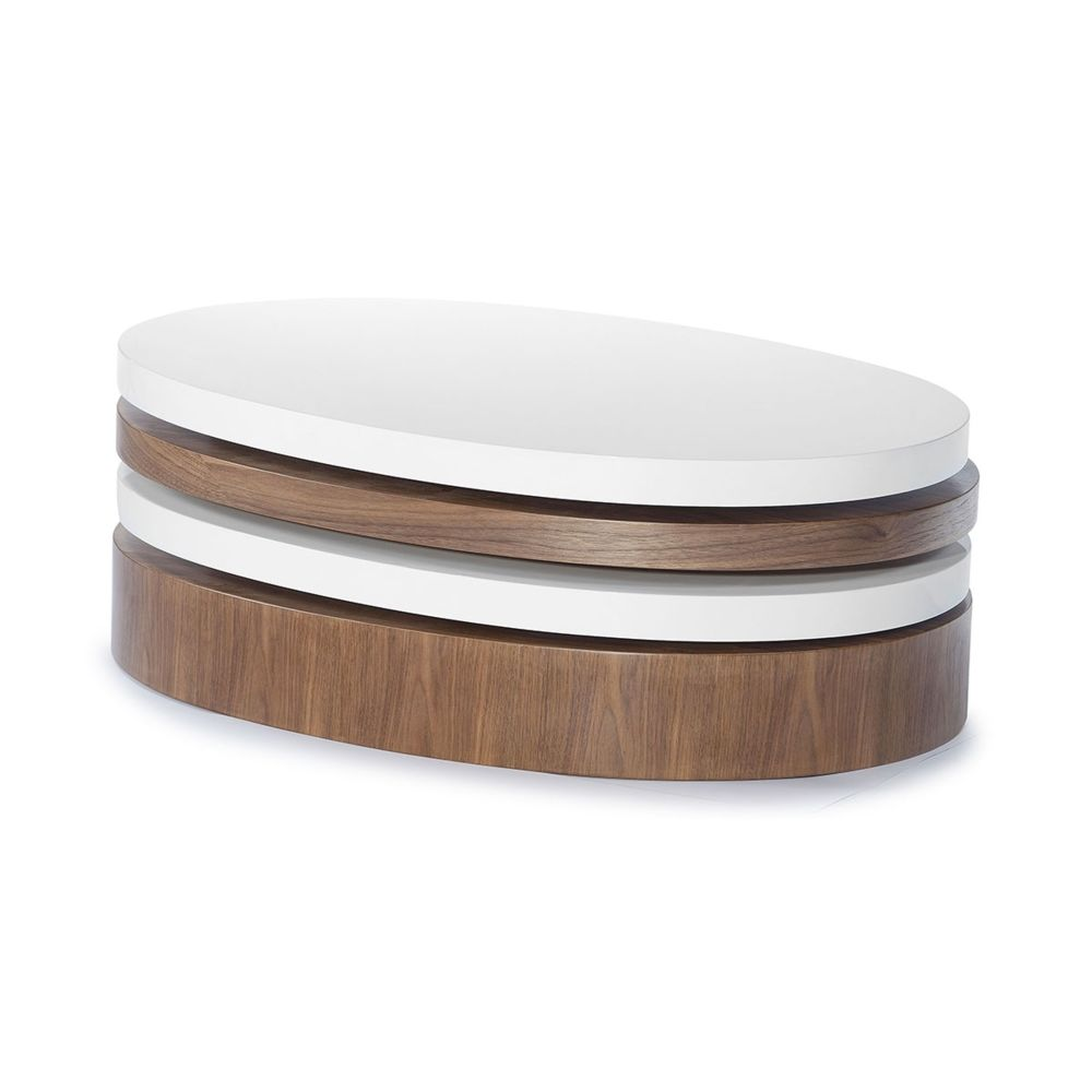 La Maison Du Canapé Table basse bois et laqué SIDONY - Noyer/Blanc - Bois foncé