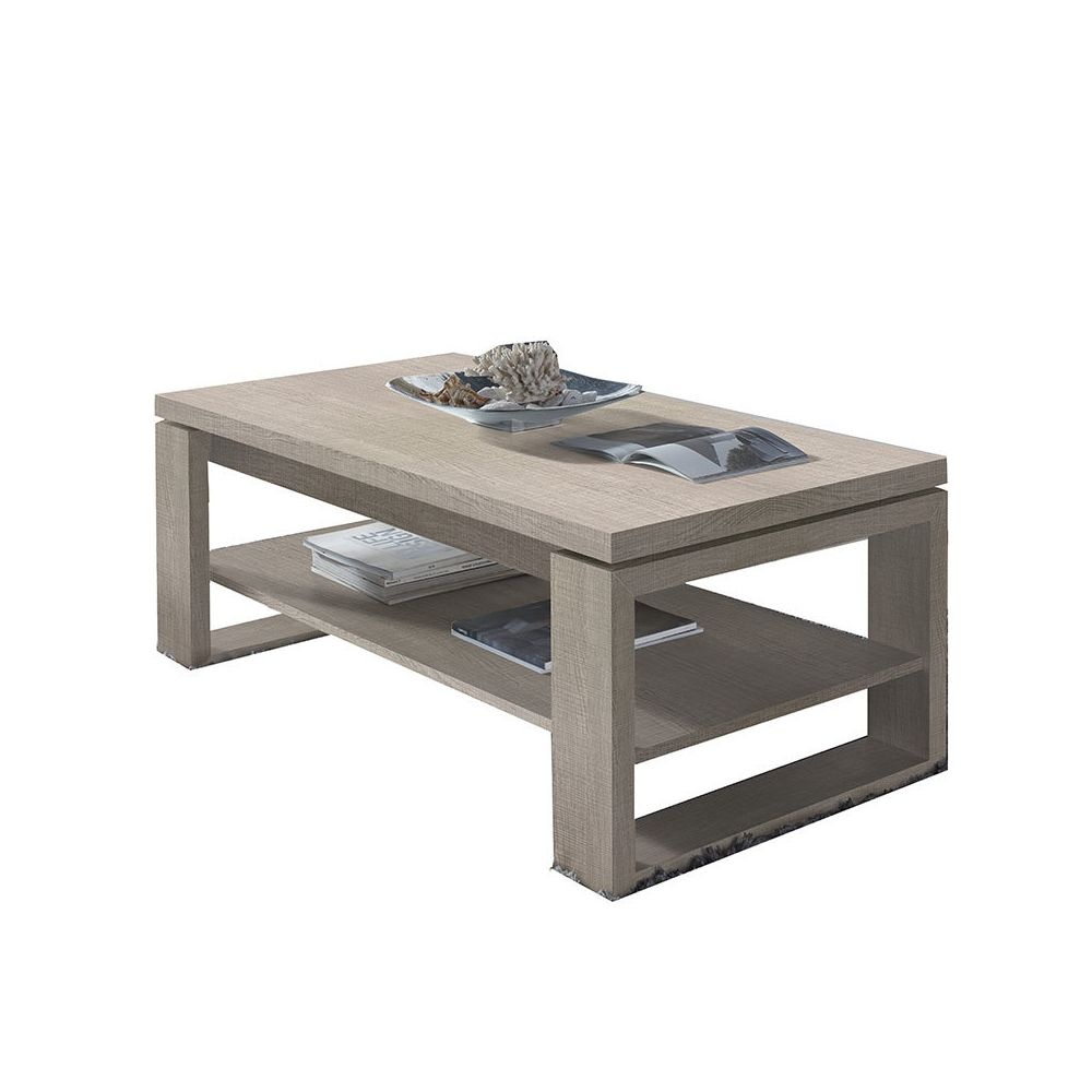 Nouvomeuble Table salon relevable couleur bois clair TARN