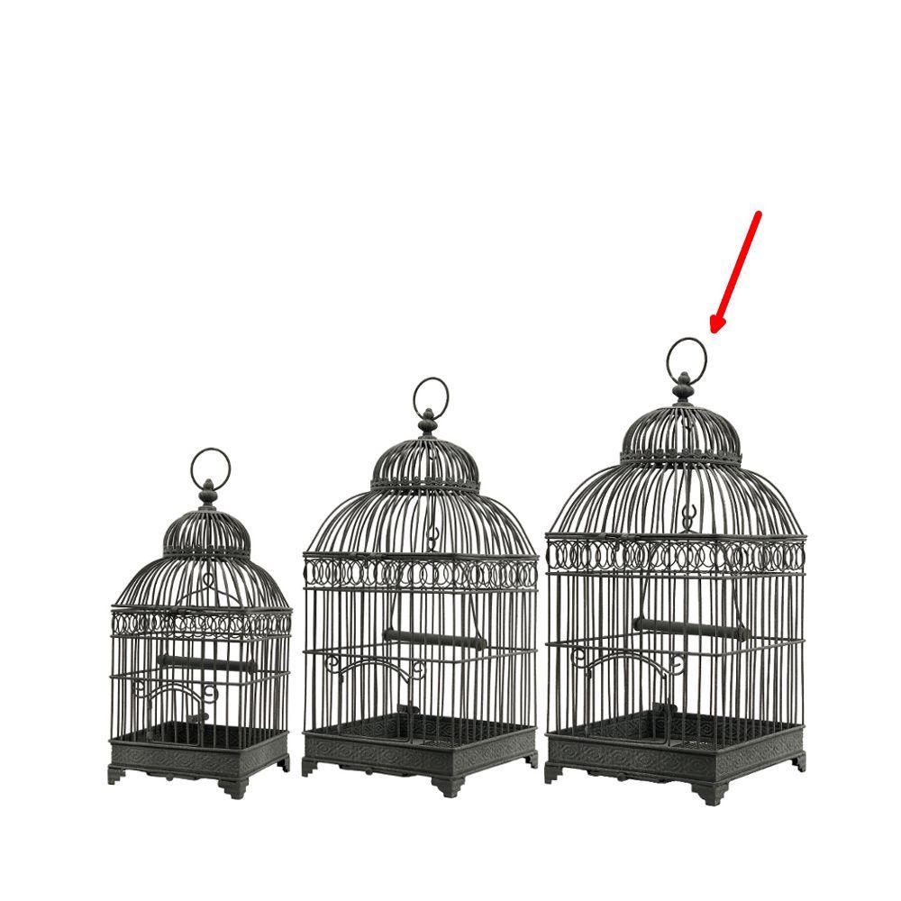 L'Originale Deco Style Ancienne Grand Cage à Oiseaux en fer Carré Gris 57 cm x 25.50 cm x 25.50 cm
