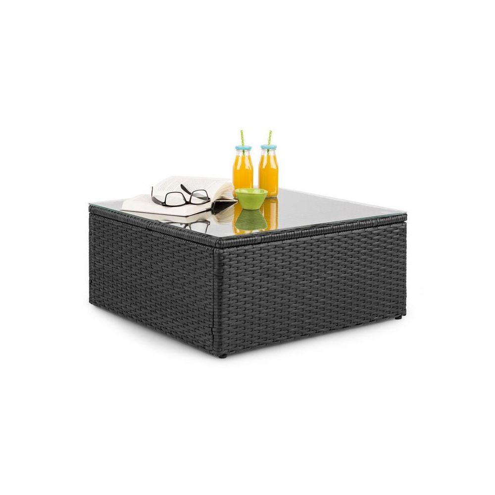 Blumfeldt Blumfeldt Theia Table de salon de jardin en polyrotin plateau en verre - Noir