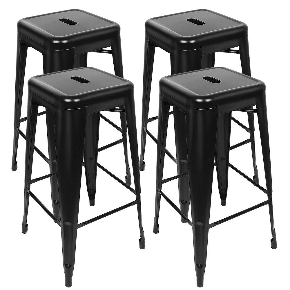 Jeobest Lot de 8 tabourets de bar en fer - Style contemporain - 48 x 48 x 76 cm (l x P x H) - Noir