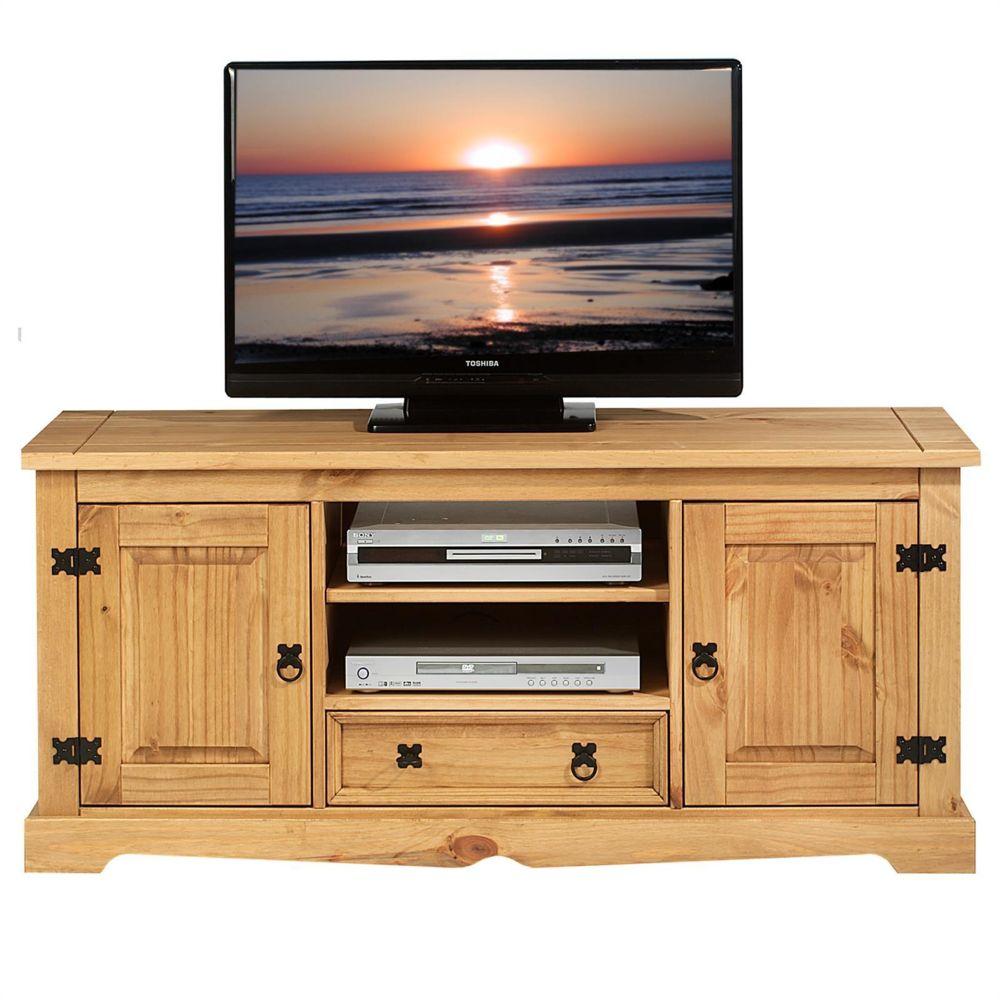 IDIMEX Meuble TV Tequila Banc t/él/é de 114 cm en Bois Style Mexicain avec 5 tiroirs et 1 Niche en pin Massif Finition teint/ée//cir/ée