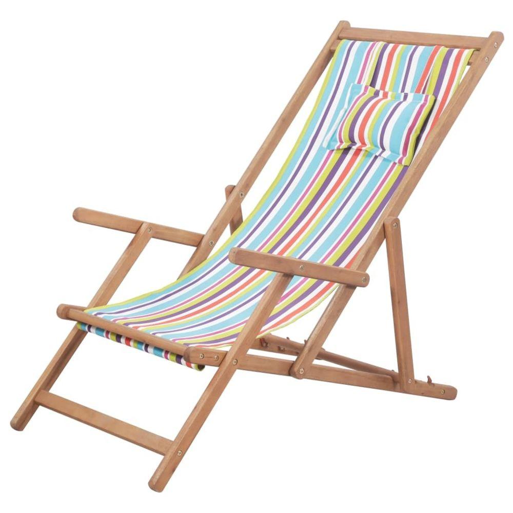 Vidaxl vidaXL Chaise pliable de plage Tissu et cadre en bois Multicolore
