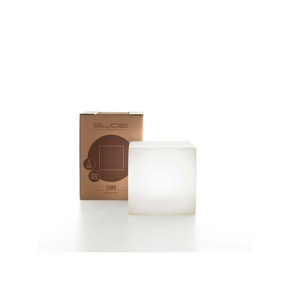 Slide CUBO-Cube lumineux d'extérieur H20cm Blanc Slide