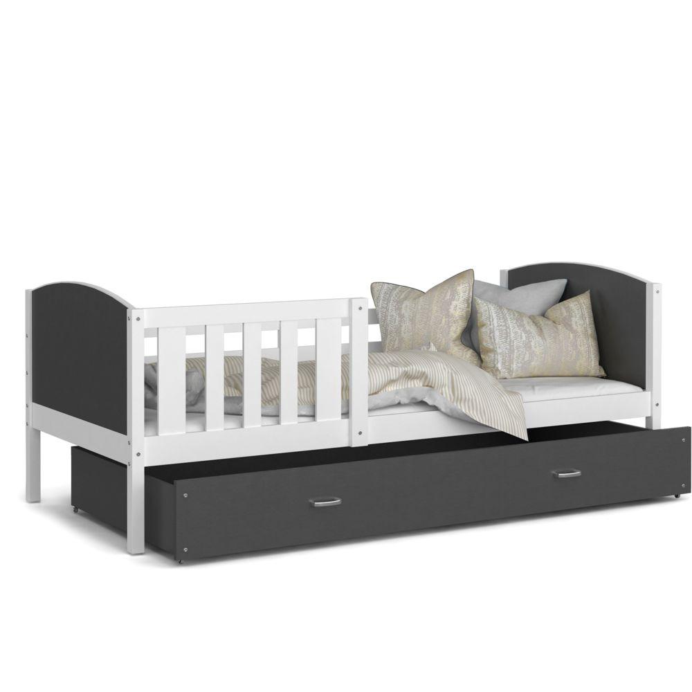 Kids Literie Lit enfant Tomy 90x190 blanc gris livré avec tiroir, sommier et matelas en mousse de 7cm offert
