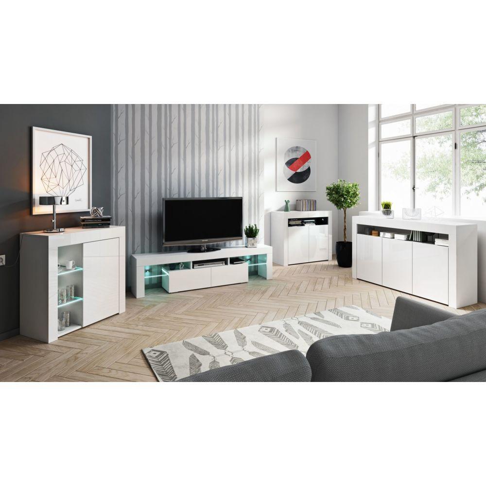 Baltic Meubles Ensemble meubles de salon blanc - 4 meubles - MOINSCHERCUISINE