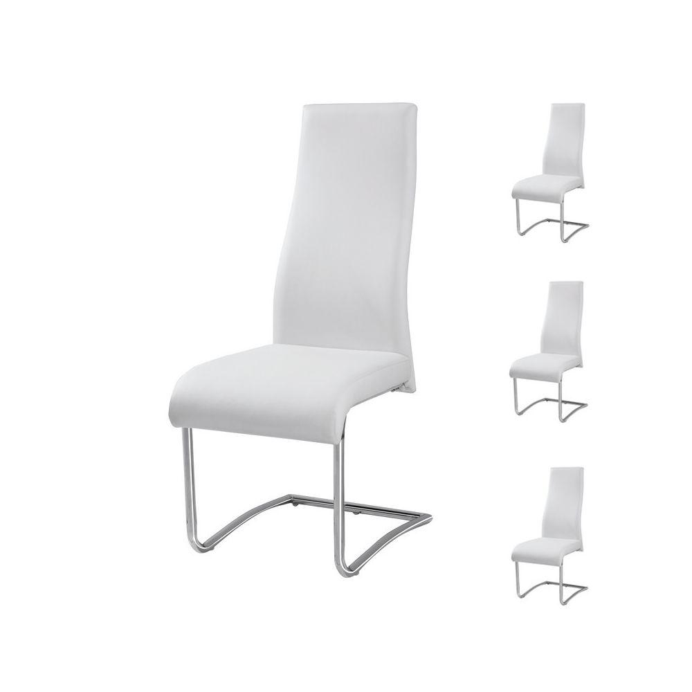Tousmesmeubles Quatuor de Chaises Simili cuir Blanc - ROME