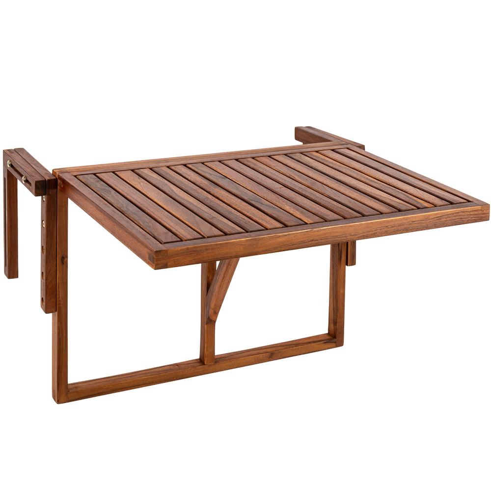 Primematik PrimeMatik - Table pliante 60 x 40 cm en bois de teck certifié pour balcon extérieur
