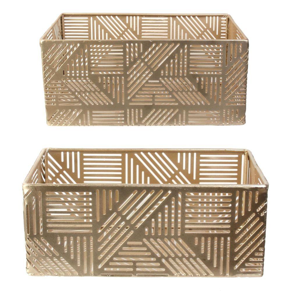 Idebox Paniers de rangement en métal ajouré doré (Lot de 2) 21 et 25 cm