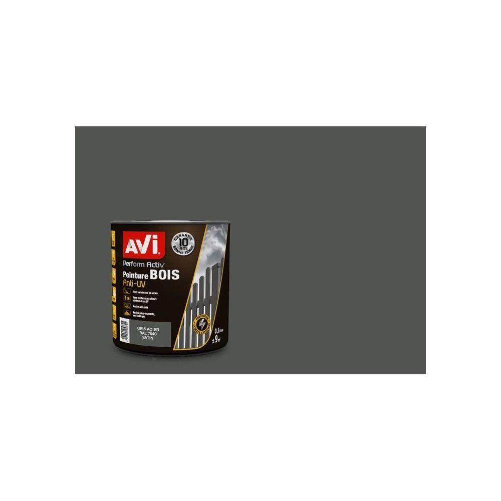 Avi AVI Peinture pour bois - Gris acier satin - 0,5 L