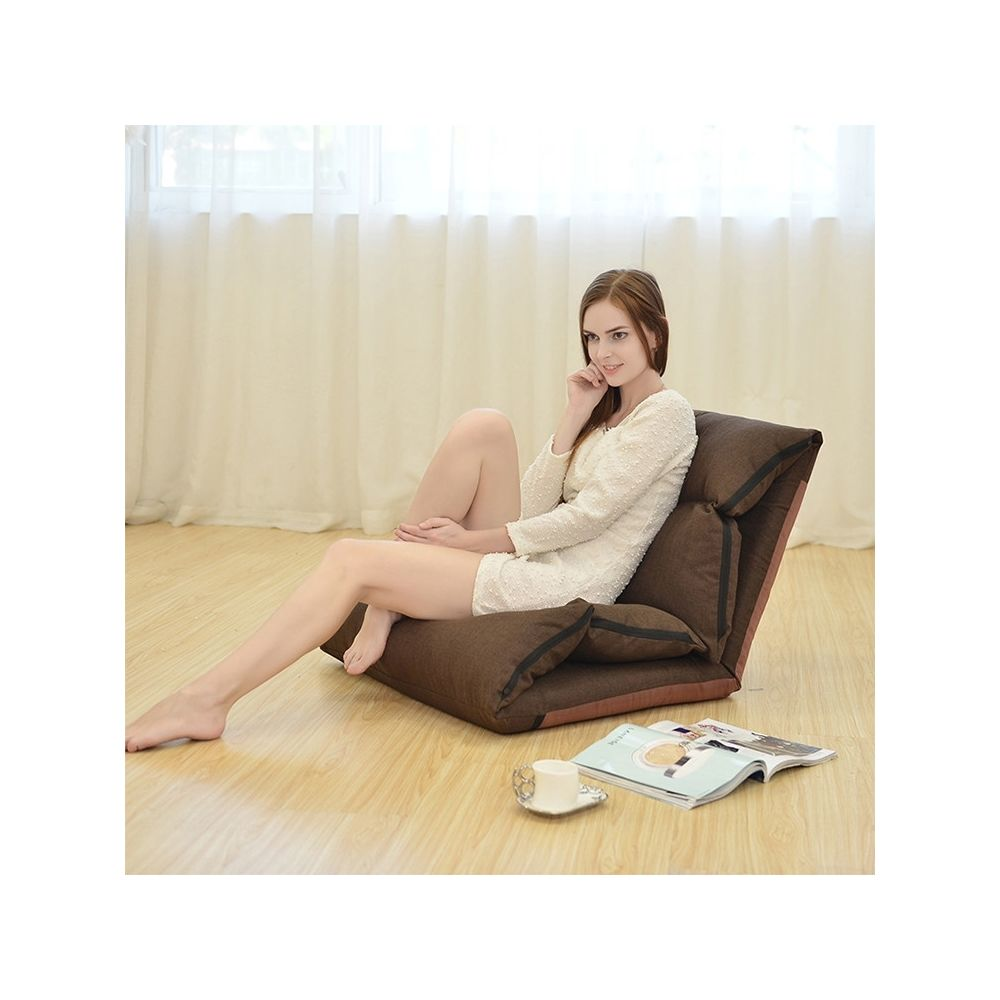 Wewoo B1 Canapé-lit pliable et lavable paresseuxcanapé-litchaise longue tatami café foncé