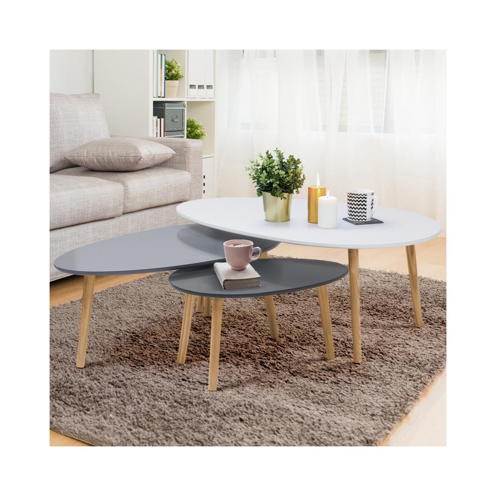 Idmarket Lot de 3 tables basses gigognes laquées blanc / gris scandinave