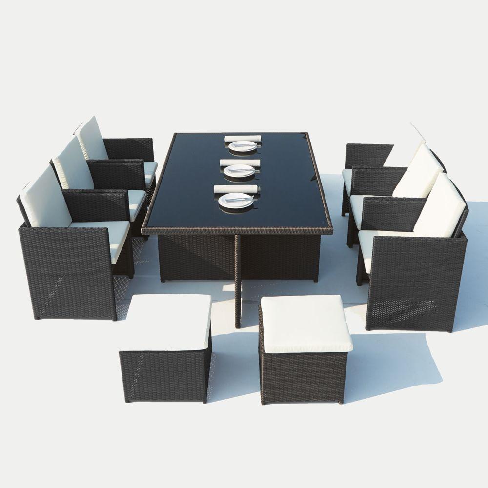 Concept Usine Salon de jardin encastrable Concept Usine Monaco 10 places en résine tressée noir/blanc