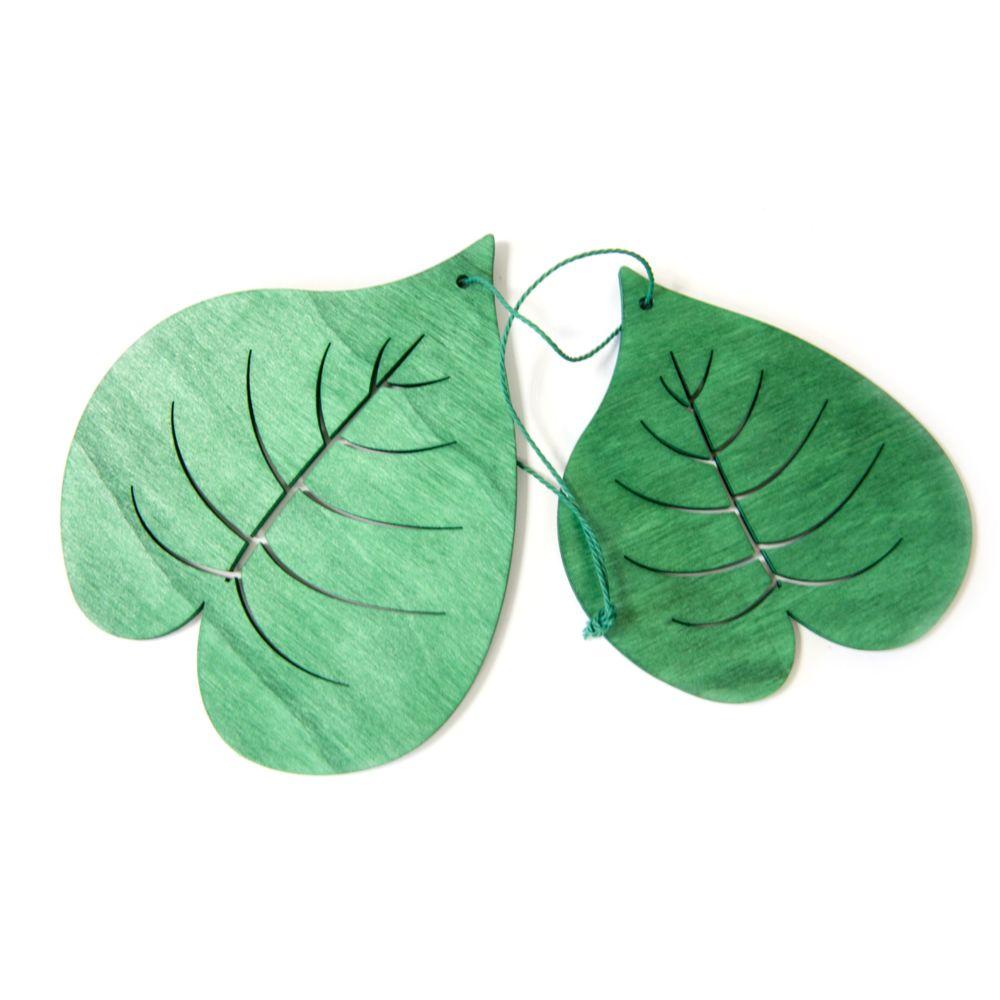 Visiodirect 20 feuilles deliciosa en bois coloris vert - 11 x 10 cm