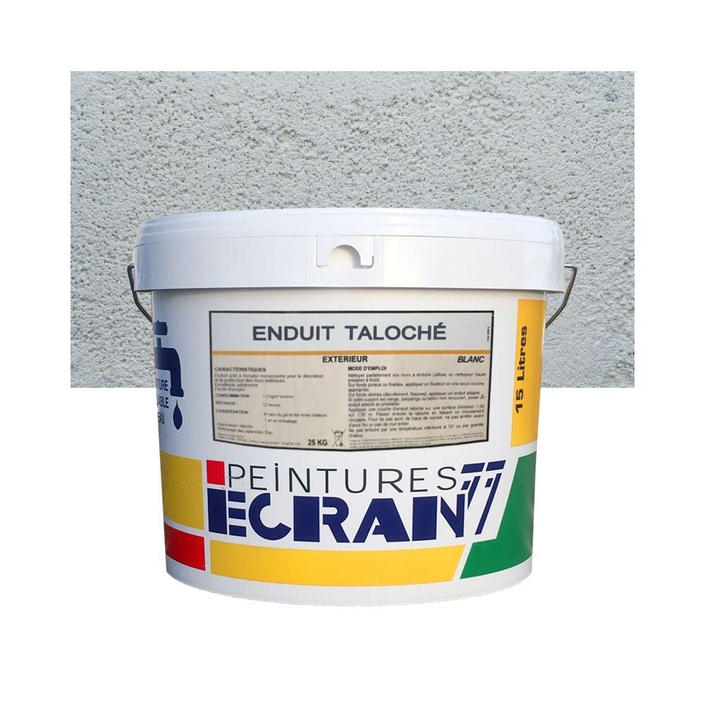 Peintures Daniel Enduit façade taloché pour extérieur blanc, 25 kg, prêt à l'emploi-25 Kg