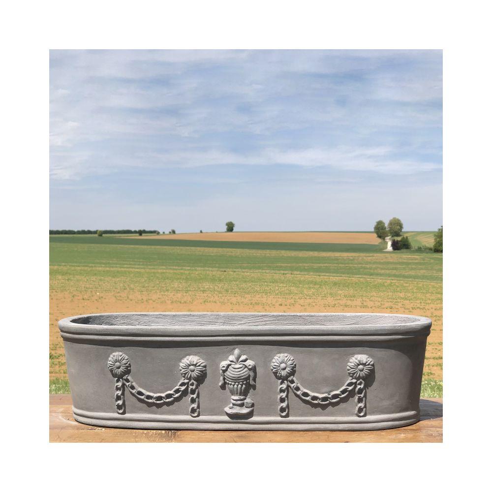 L'Originale Deco Longue Jardinière Pot Vasque Médicis Fenêtre Jardiniere Balcon Guirlande Gris Fonte Gris Plomb 48 cm x 17 cm