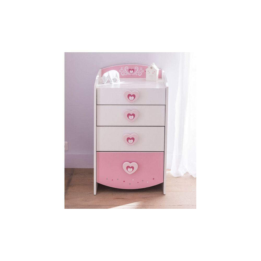 Dansmamaison Commode 4 tiroirs Blanc/Rose - FIONA - L 53 x l 44 x H 91 cm