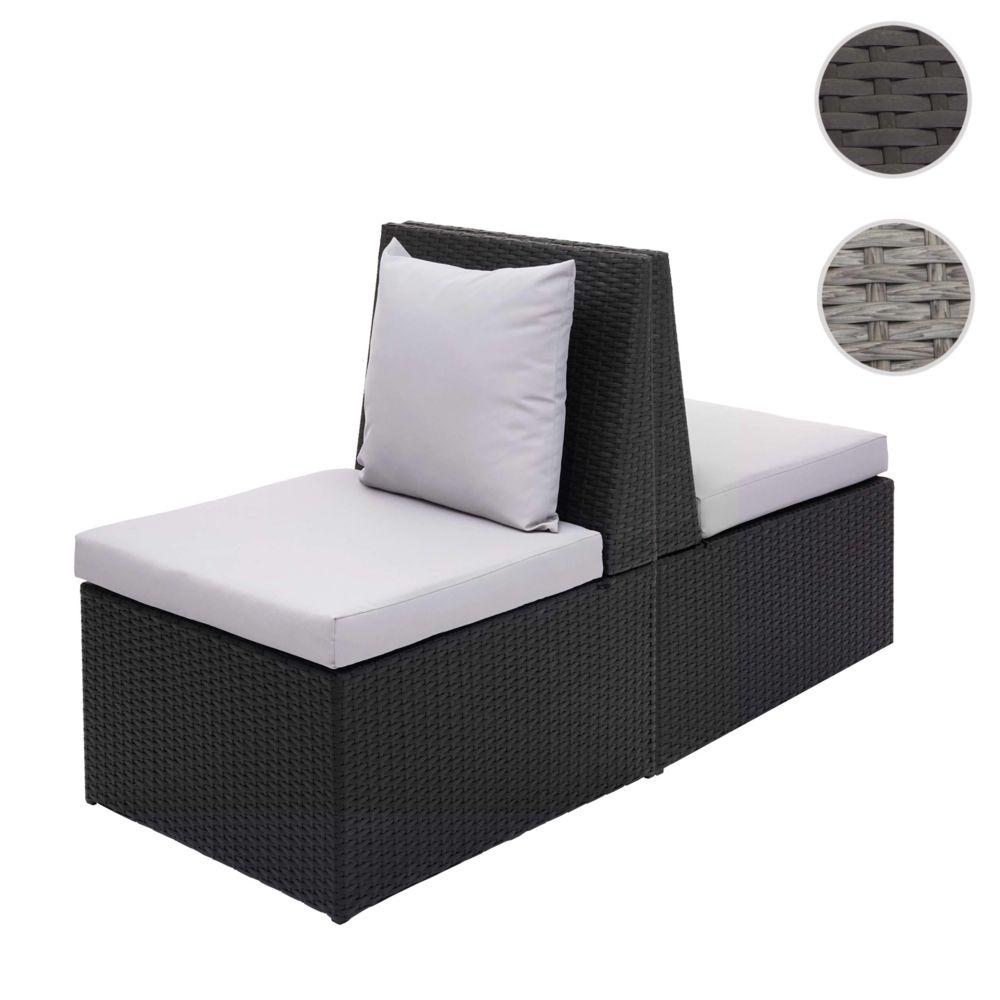 Mendler 2x fauteuil en polyrotin HWC-G16, chaise de jardin, gastronomie ~ noir, coussin gris clair