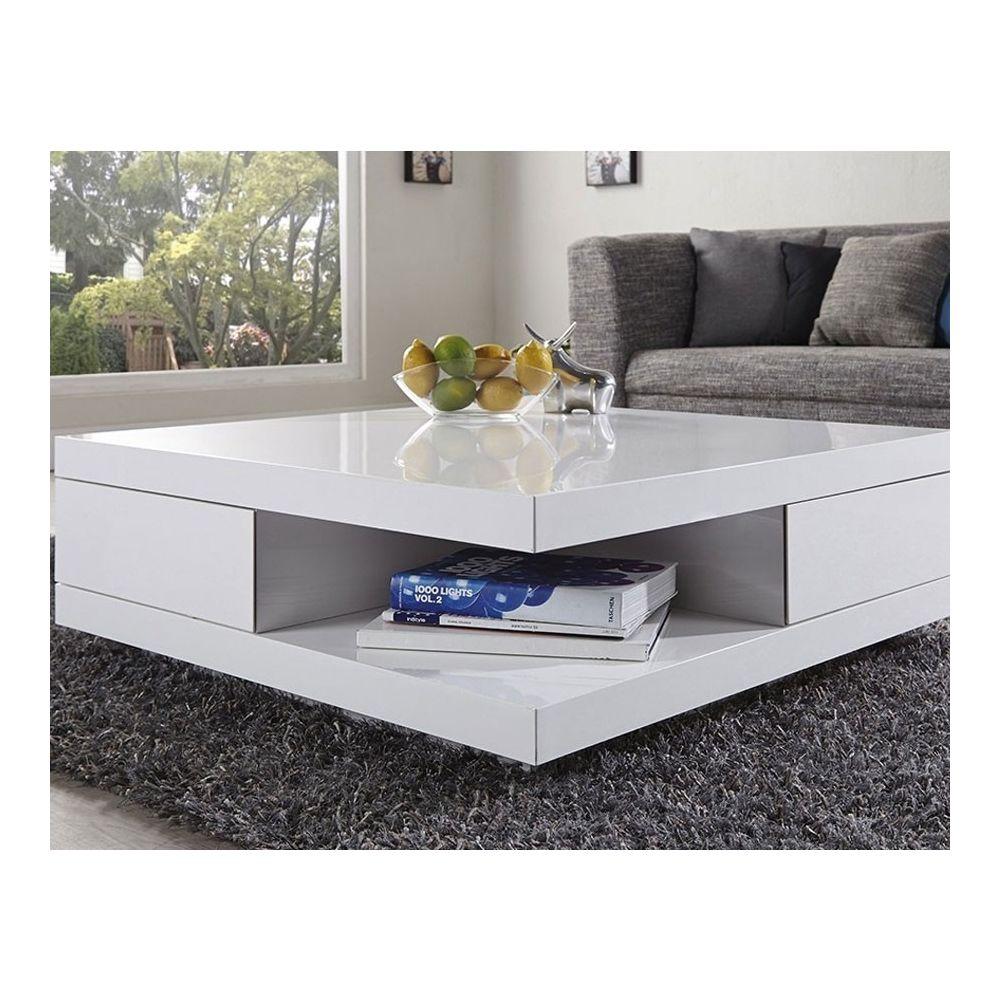 Nouvomeuble Table basse carrée design blanc laqué avec 2 tiroirs MARION