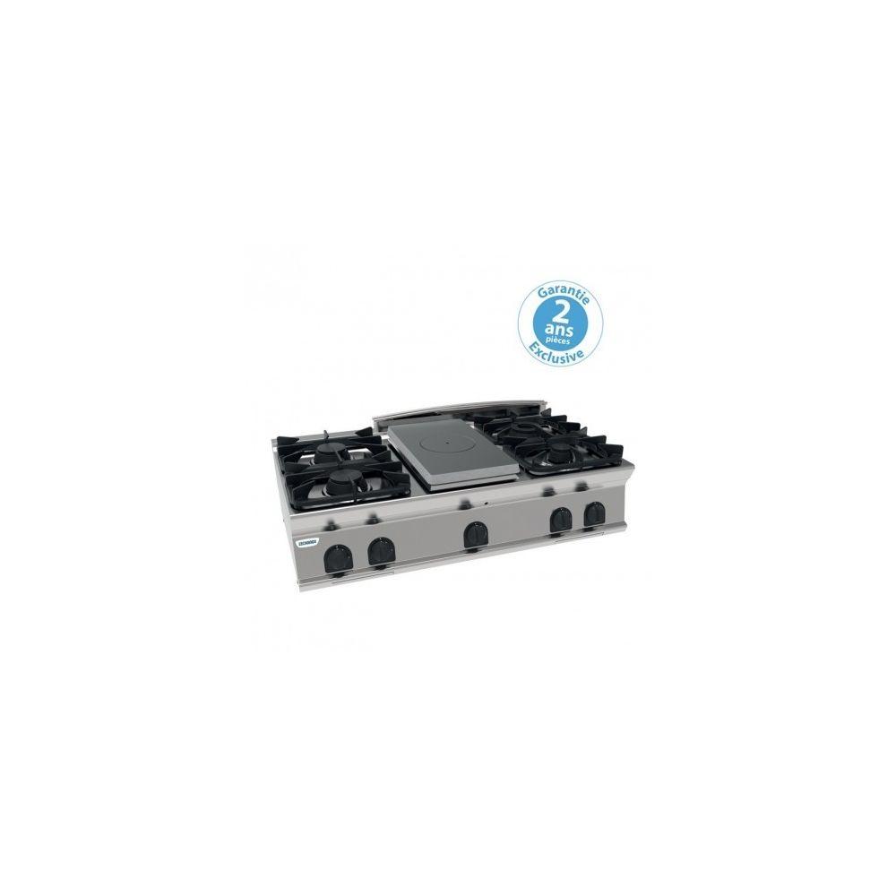 Materiel Chr Pro Plaque de cuisson - top 4 feux vifs gaz et 1/2 plaque coup de feu - gamme 700 - module 400 - Tecnoinox -