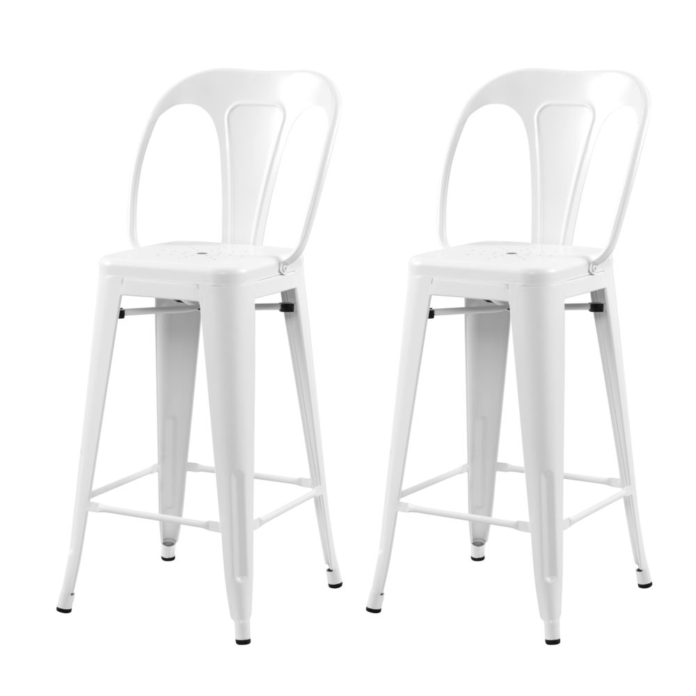 Rendez Vous Deco Chaise de bar mi-hauteur Indus blanc mat 66 cm (lot de 2)
