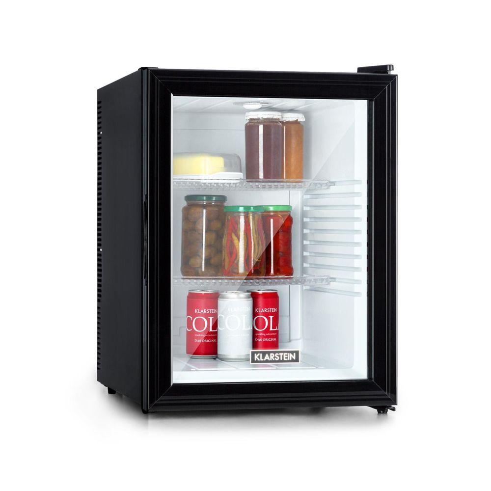 Klarstein Mini réfrigérateur - Klarstein Brooklyn 42 - 42L Porte vitrée - Noir avec intérieur blanc
