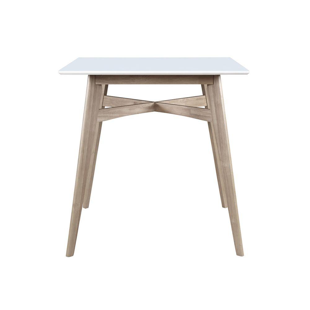 Miliboo Table de bar carrée bois et blanc LEENA