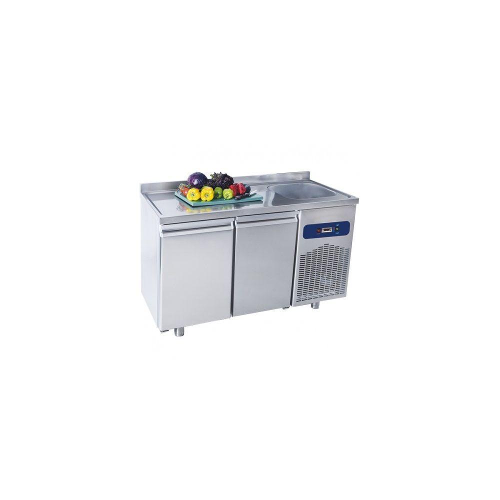 Materiel Chr Pro Table Réfrigérée Positive - 2 Portes avec Dosseret et Plonge - Virtus - 700