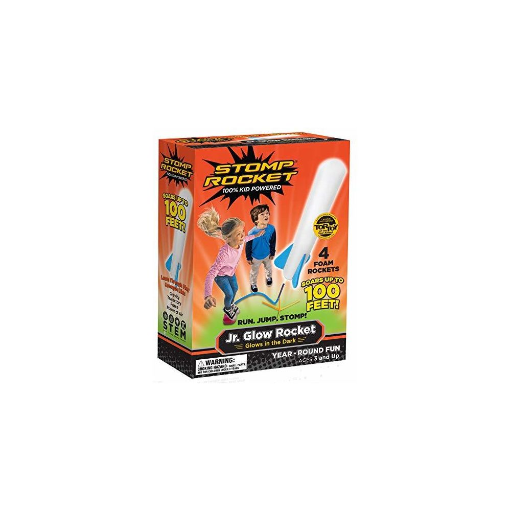 Stomp Rocket Stomp Rocket Jr Glow Rocket 4 Rockets and Toy Rocket Launcher - Outdoor Rocket Toy Gift for Boys and Girls Ages 3 Years