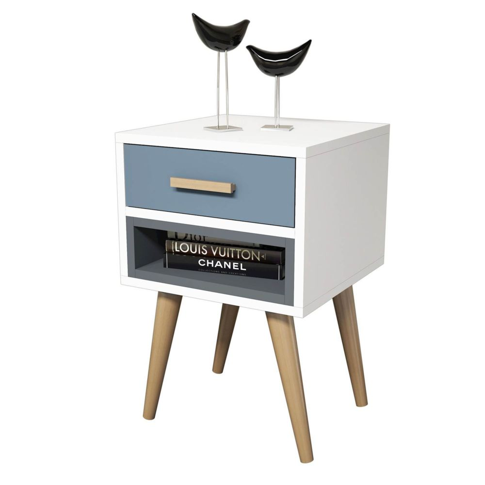 Homemania Table de chevet design Safir - L. 40 x H. 61 cm - Gris