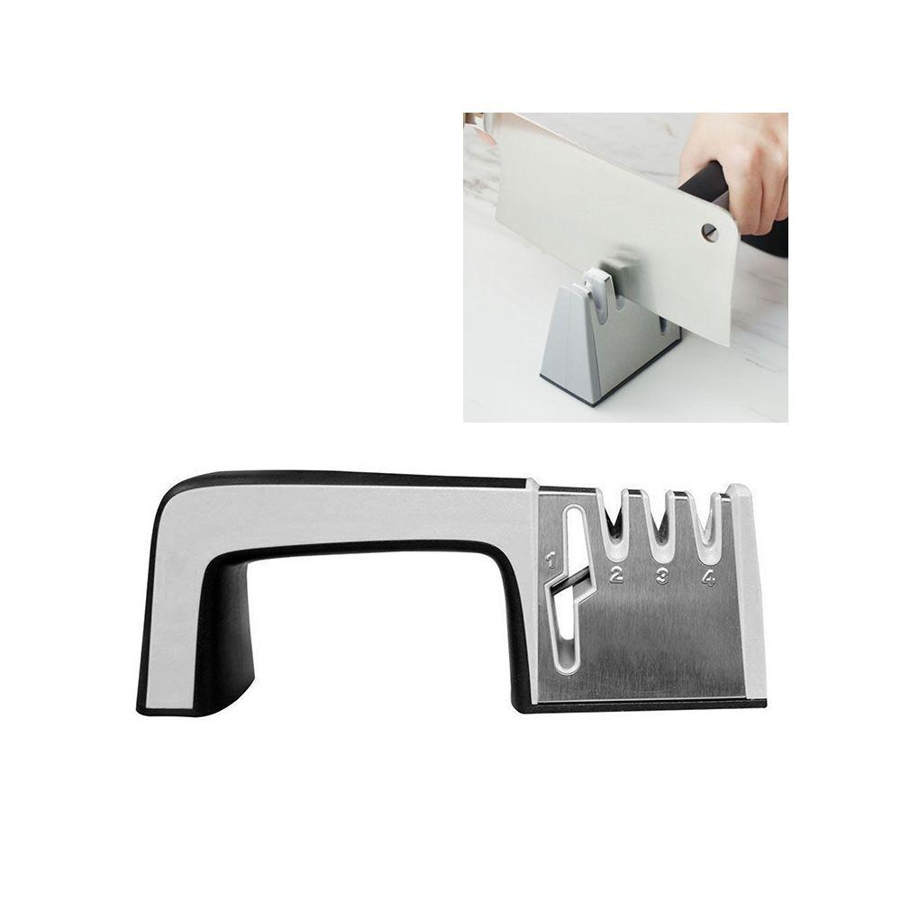Wewoo Aiguiseur de couteaux en acier inoxydable 4 1 Outil d'affûtage rapide à quatre sections avec poignée antidérapante noir