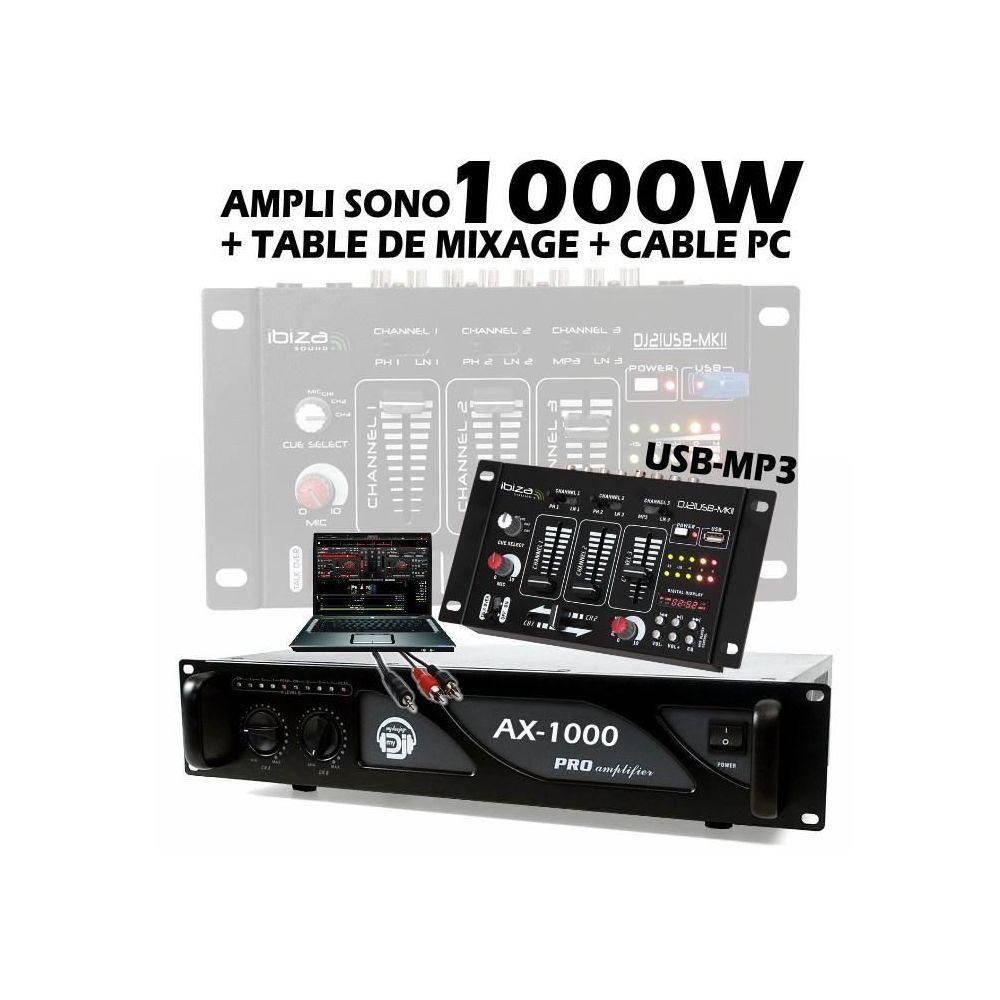 Ibiza Sound Pack sono comprenant 1 table de mixage usb + 1 ampli ax1000 de 2x500w + câble pc pa dj sono led light bar club danse dis