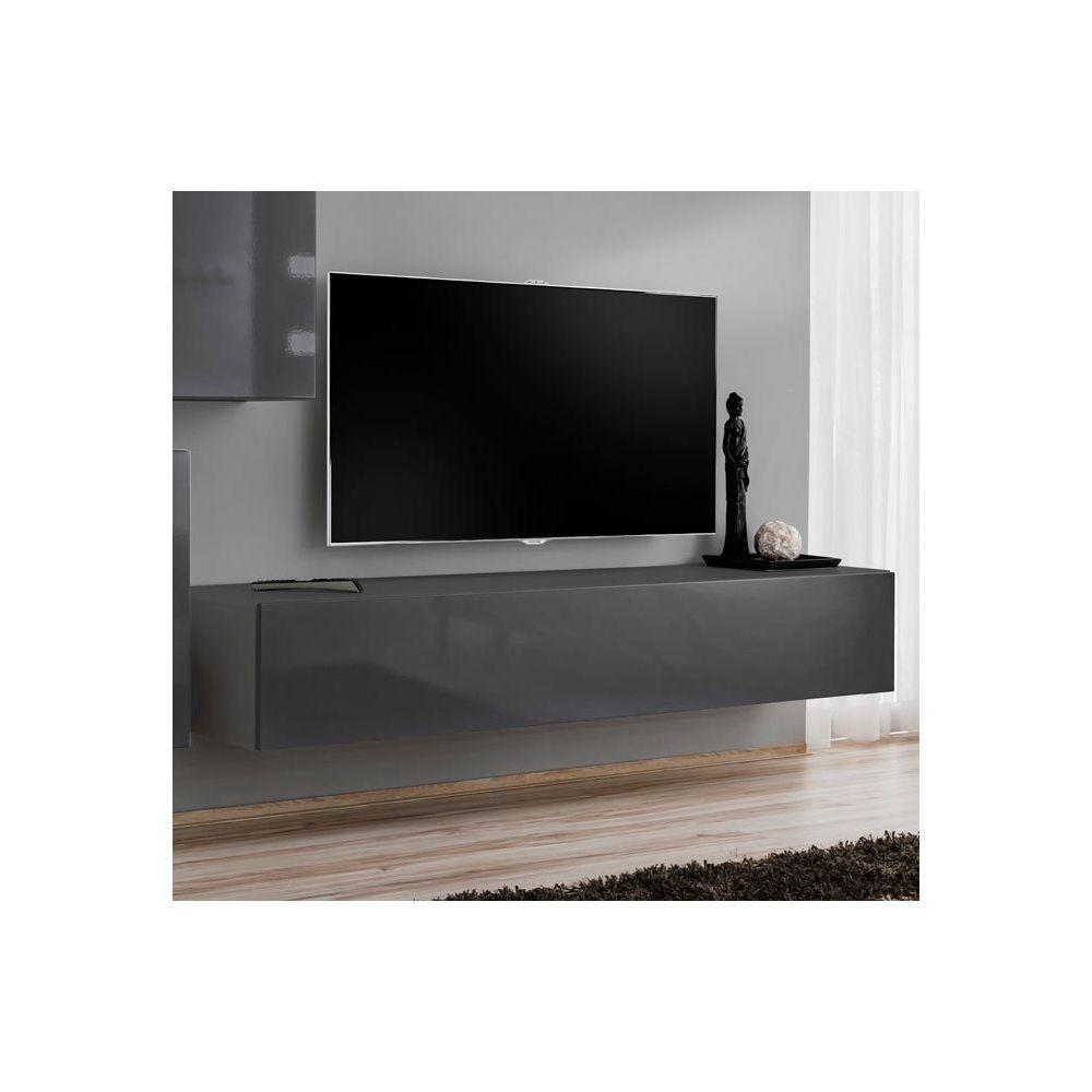 Design Ameublement Meuble TV modèle Berit 120x30 couleur gris