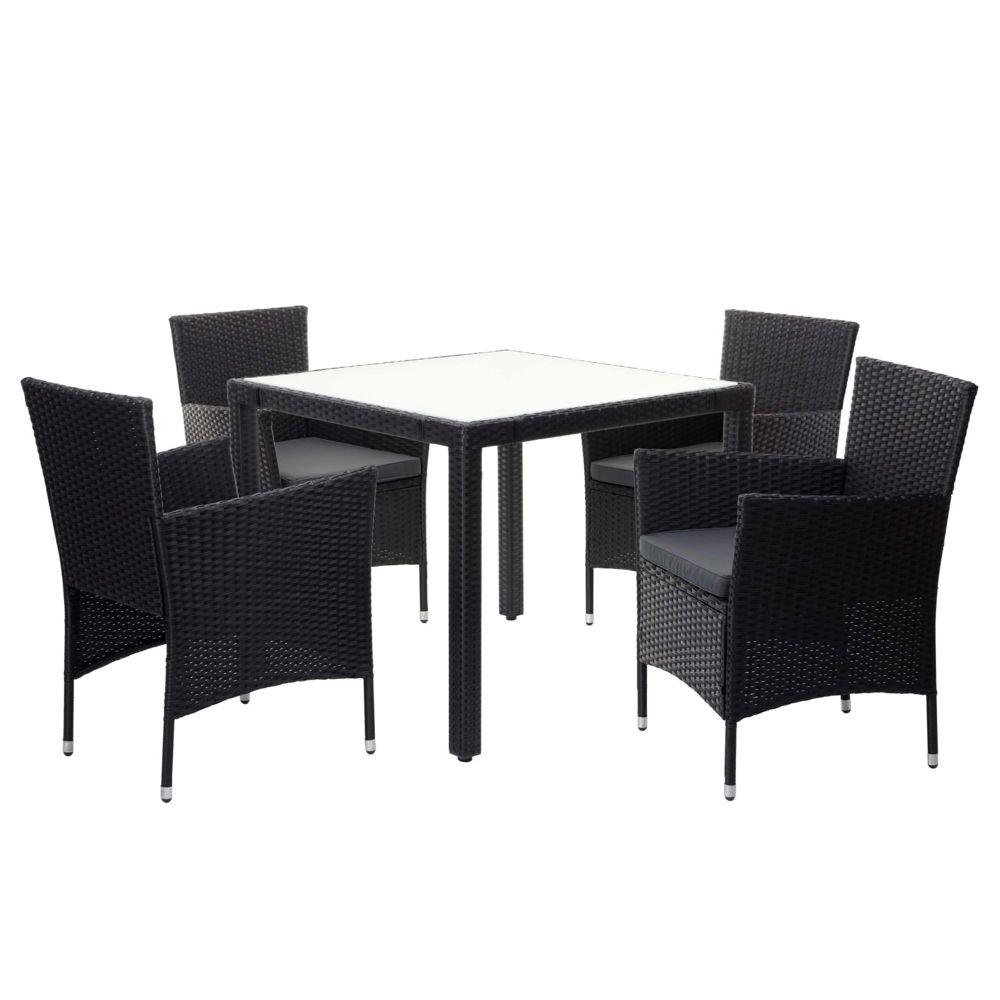 Mendler Garniture en polyrotin HWC-F50, ensemble fauteuils et table, balcon/jardin ~ anthracite, coussins gris foncés