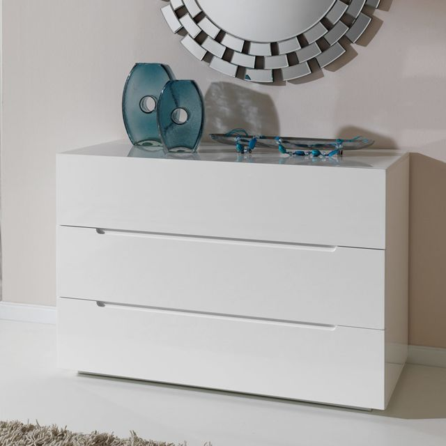 Nouvomeuble - Commode adulte design blanc laqué EMIRA - Commode