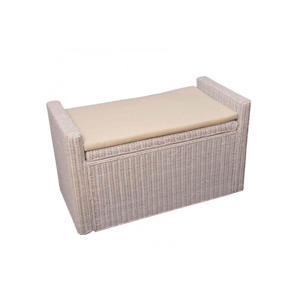 Decoshop26 Banc banquette / coffre de rangement en rotin blanc BAN04018