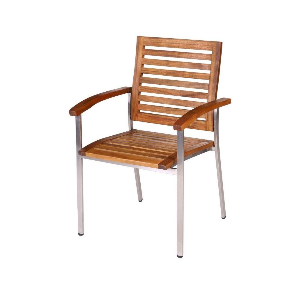 Ma Maison Mes Tendances Lot de 4 fauteuils de jardin en teck et acier NAVARRA - L 57.4 x l 57 x H 88