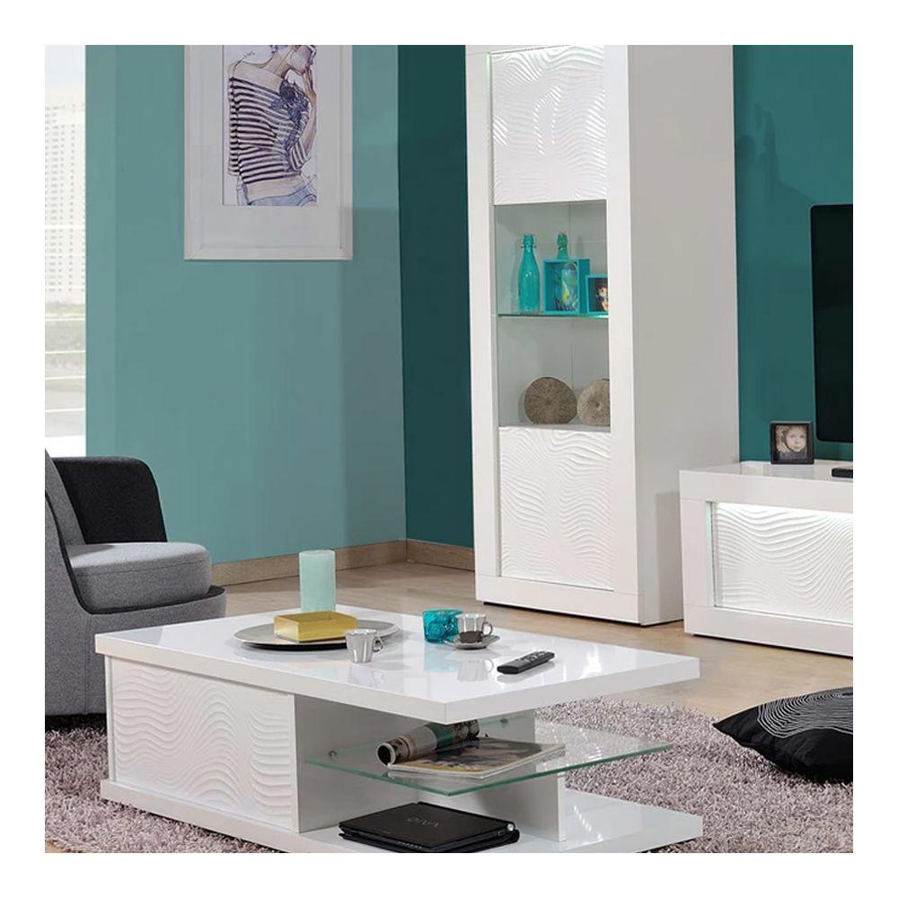 Nouvomeuble Table basse blanche laquée design KARL