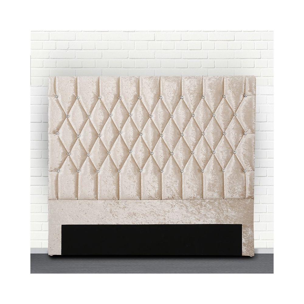 Meubler Design Tête de lit capitonné avec strass FOCUS - Beige tête de lit - 160 cm