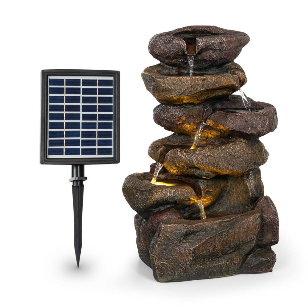 Blumfeldt Blumfeldt Savona Fontaine solaire de jardin en polyrésine - Panneau 9V - Batterie autonome 5h - Eclairage LED - Aspect