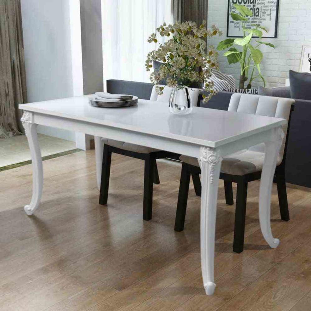 Uco UCO Table de salle à manger 116 x 66 x 76 cm Blanc haute brillance