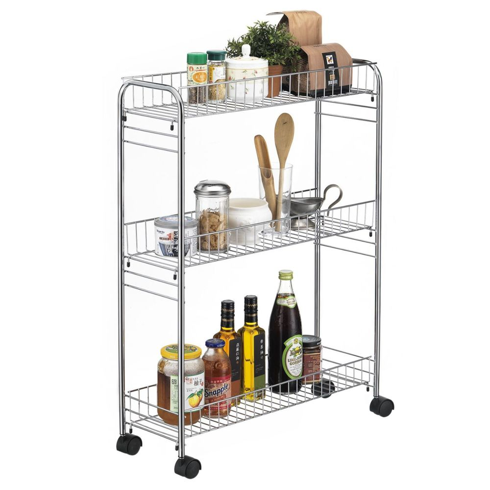 Idimex Desserte à roulettes ZETA chariot de service pour cuisine ou salle de bain meuble de rangement avec 3 paniers, en métal