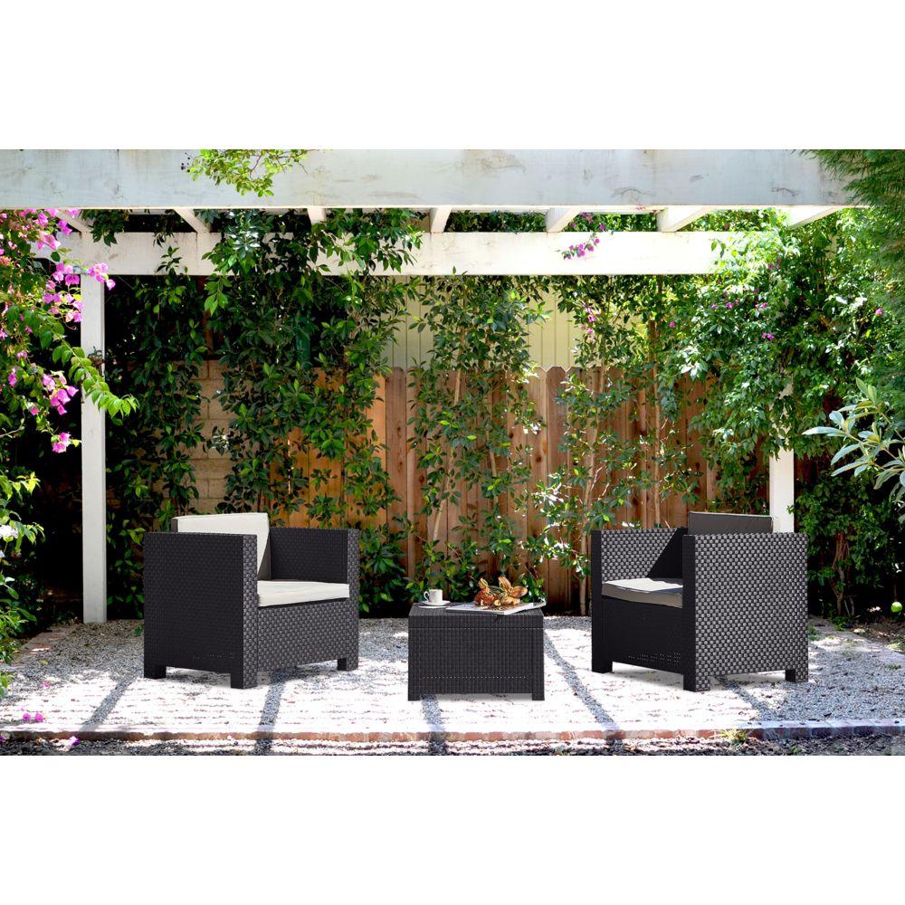 Concept Usine Ankara : Salon de jardin 2 places effet résine tressée gris