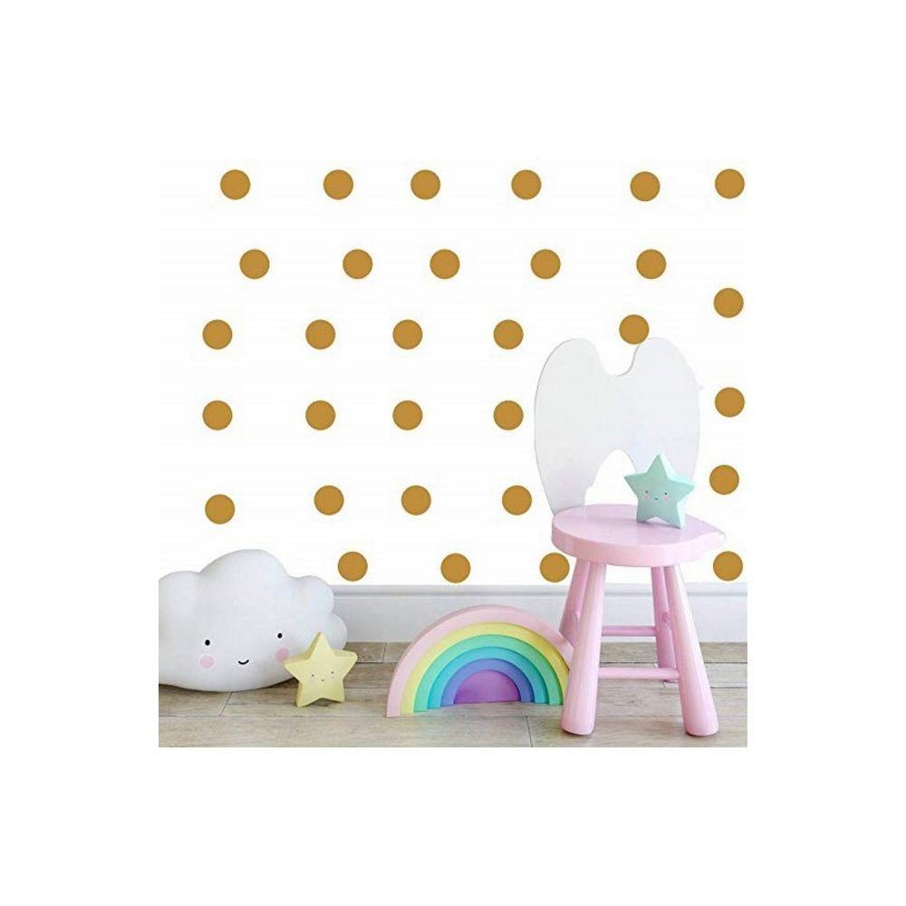 Homemania HOMEMANIA Sticker Polka Dots - Cercle - pour les enfants - au mur - Or en Vinyle, 20 x 0,2 x 27 cm