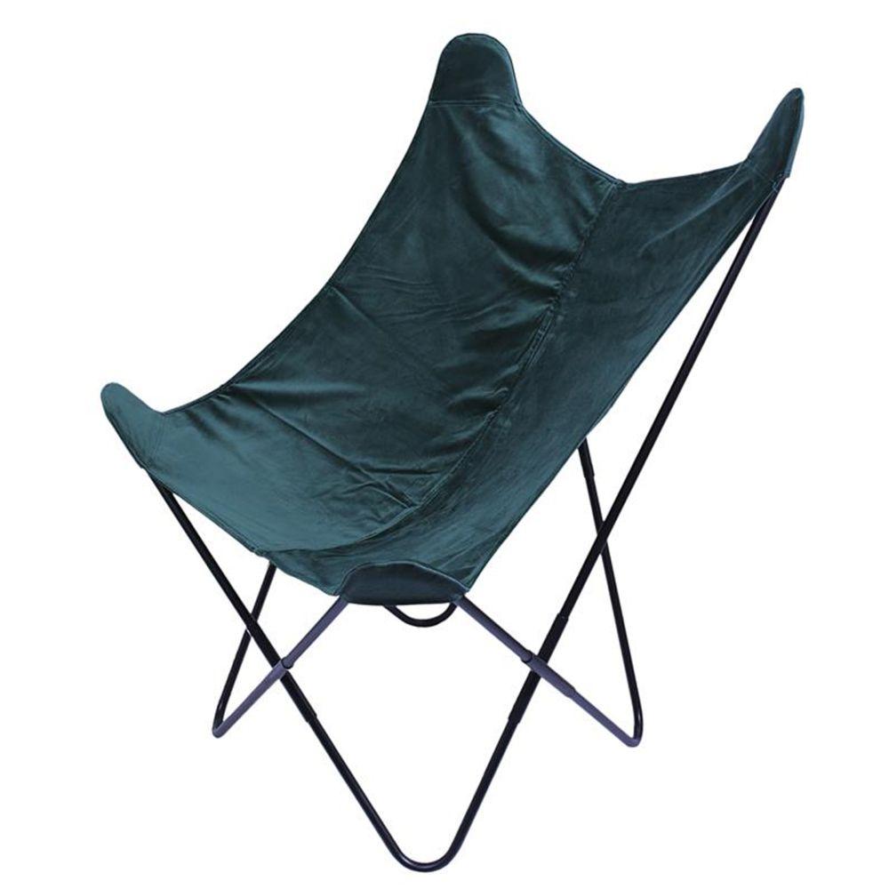 Pegane Fauteuil réversible en velours coloris vert - 74 x 79 x 101 cm -PEGANE-