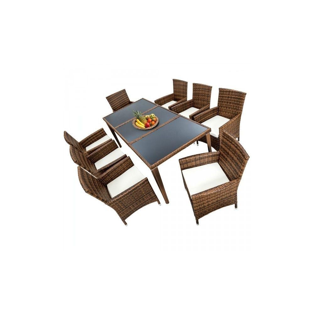 Helloshop26 Salon de jardin 8 chaises rotin résine tressé synthétique marron + coussins + housses 2108006