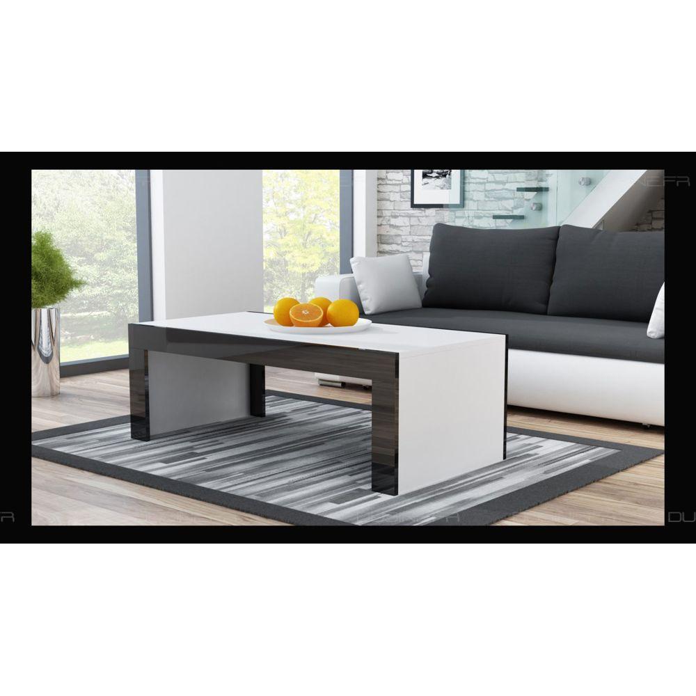 Dusine Grande table basse Spider Blanc mat avec bordures noir laquées