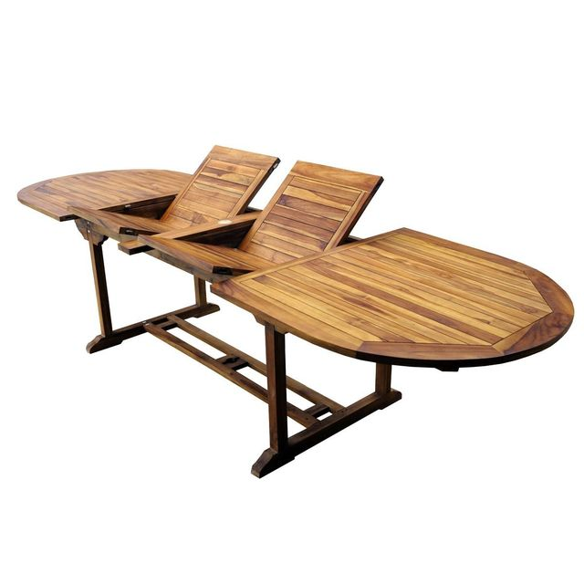 Wood En Stock - Table de jardin en teck XXL 200-250-300 cm double rallonge - Tables de jardin