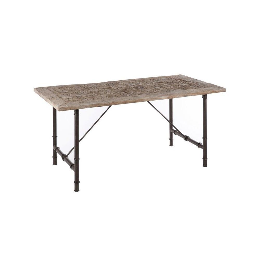 Design And Vintage Table à manger rectangle en bois et métal gris