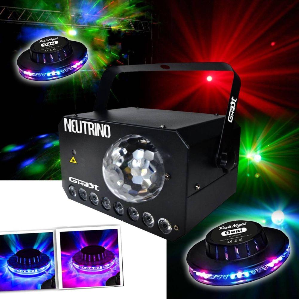 Ghost Jeu de lumière 3 en 1 - Strobe - Flower LEDs RGBW - Laser VERT/ROUGE + 2 Effets UFO OVNI